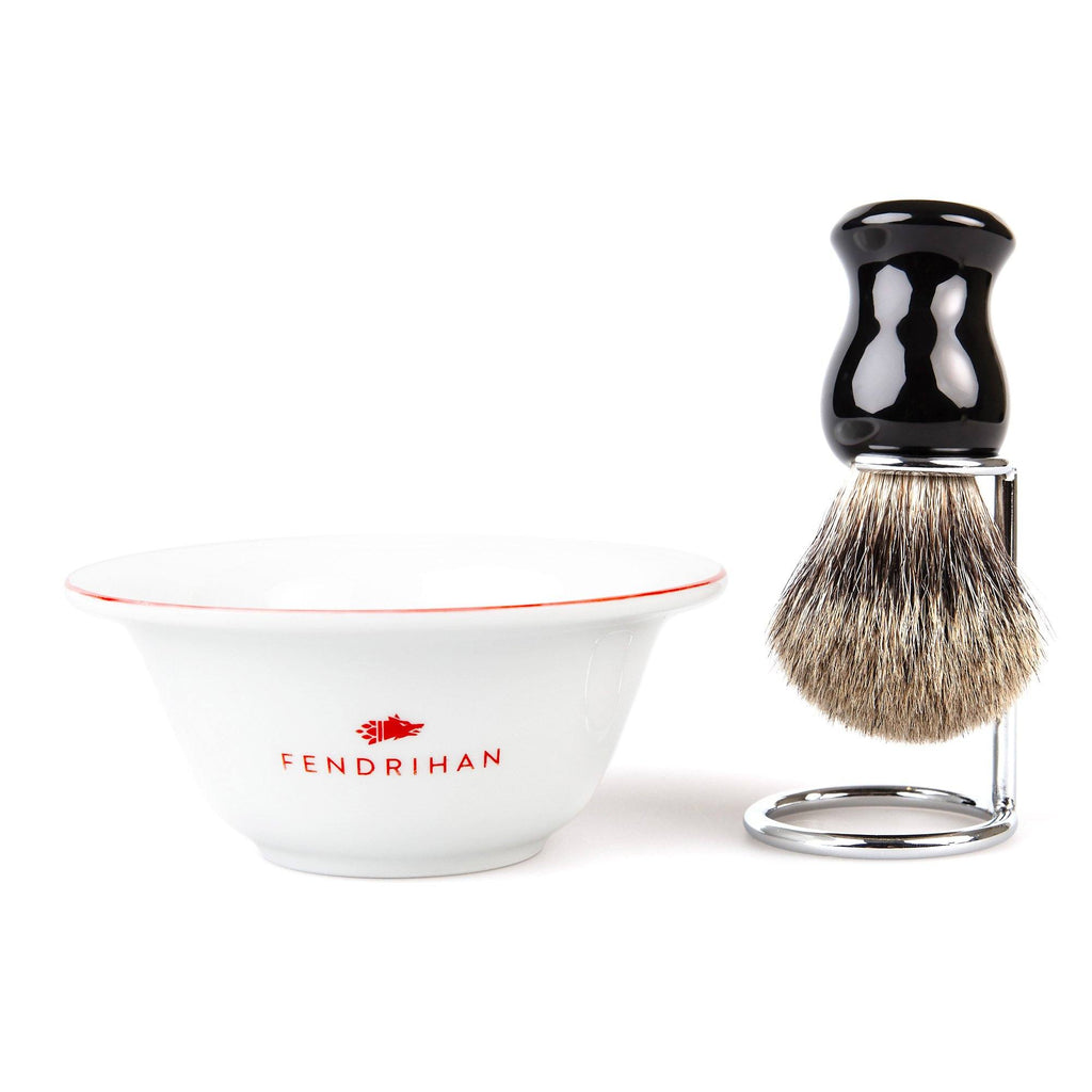 Fendrihan Porcelain Shaving Bowl and Classic Pure Grey Badger Shaving Brush with Metal Stand Set, Save $10 Shaving Set Fendrihan Red Black