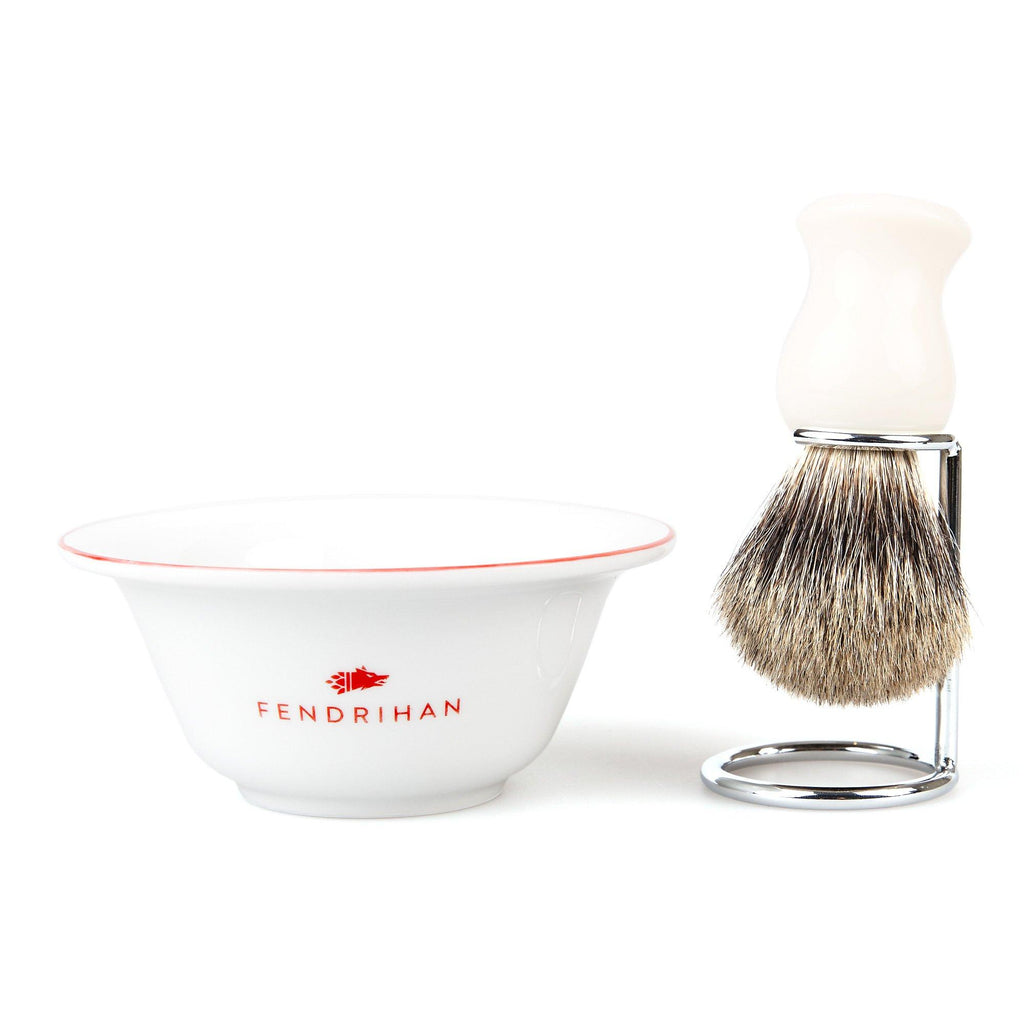 Fendrihan Porcelain Shaving Bowl and Classic Pure Grey Badger Shaving Brush with Metal Stand Set, Save $10 Shaving Set Fendrihan Red White
