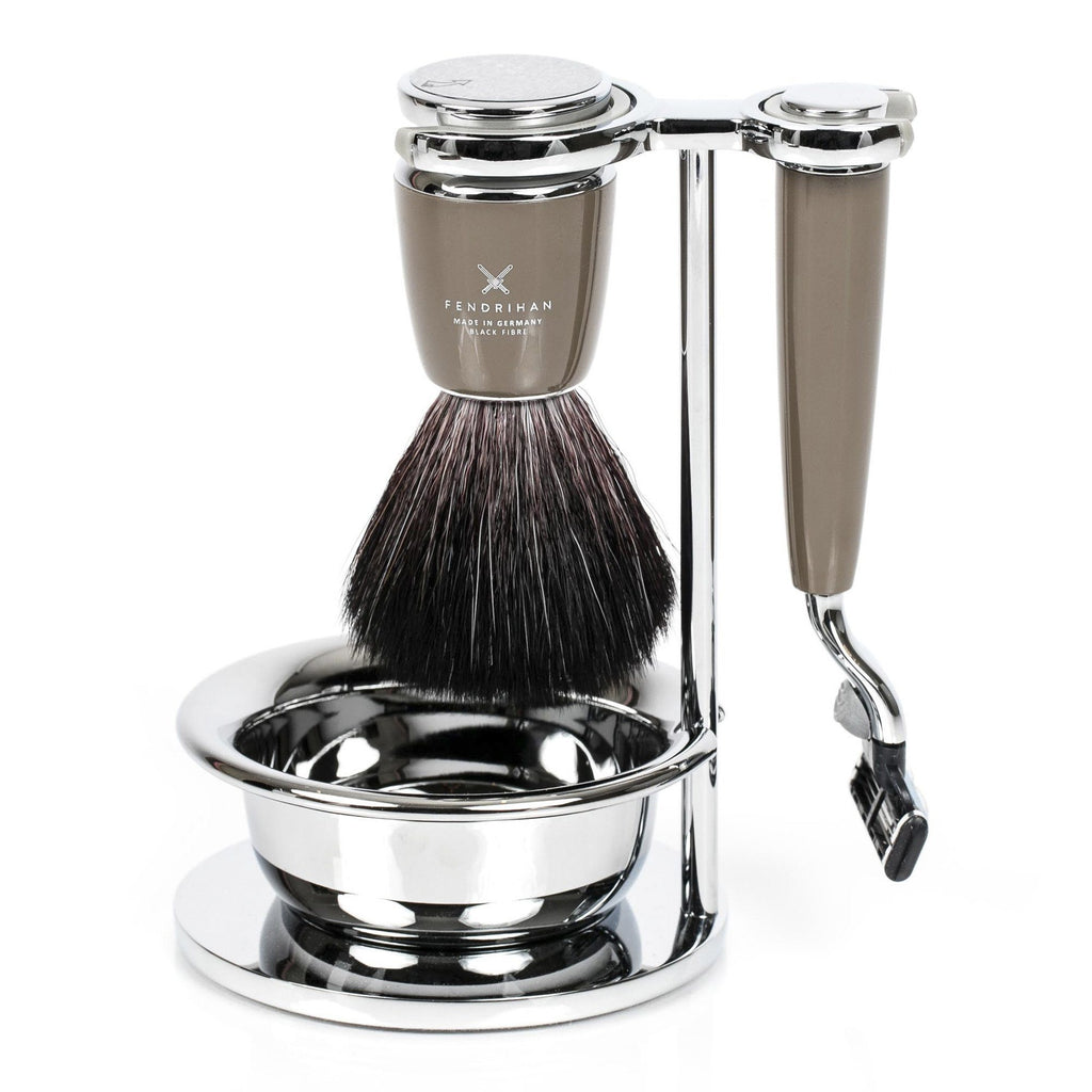 Fendrihan 4-Piece Shaving Set with Gillette Mach3 Razor and Black Fiber Brush, Stone - Fendrihan - 1