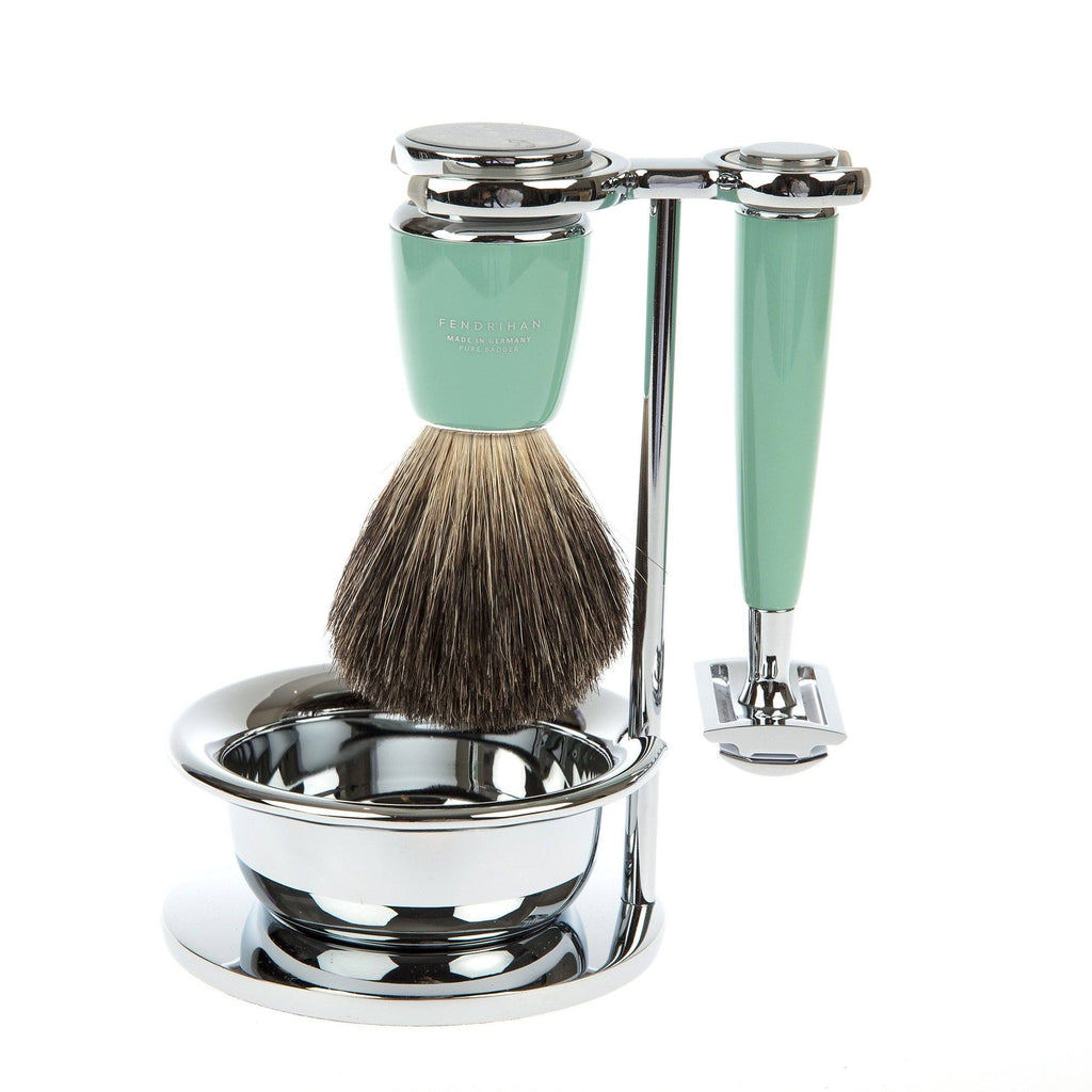 Fendrihan 4-Piece Shaving Set with Safety Razor and Pure Badger Brush