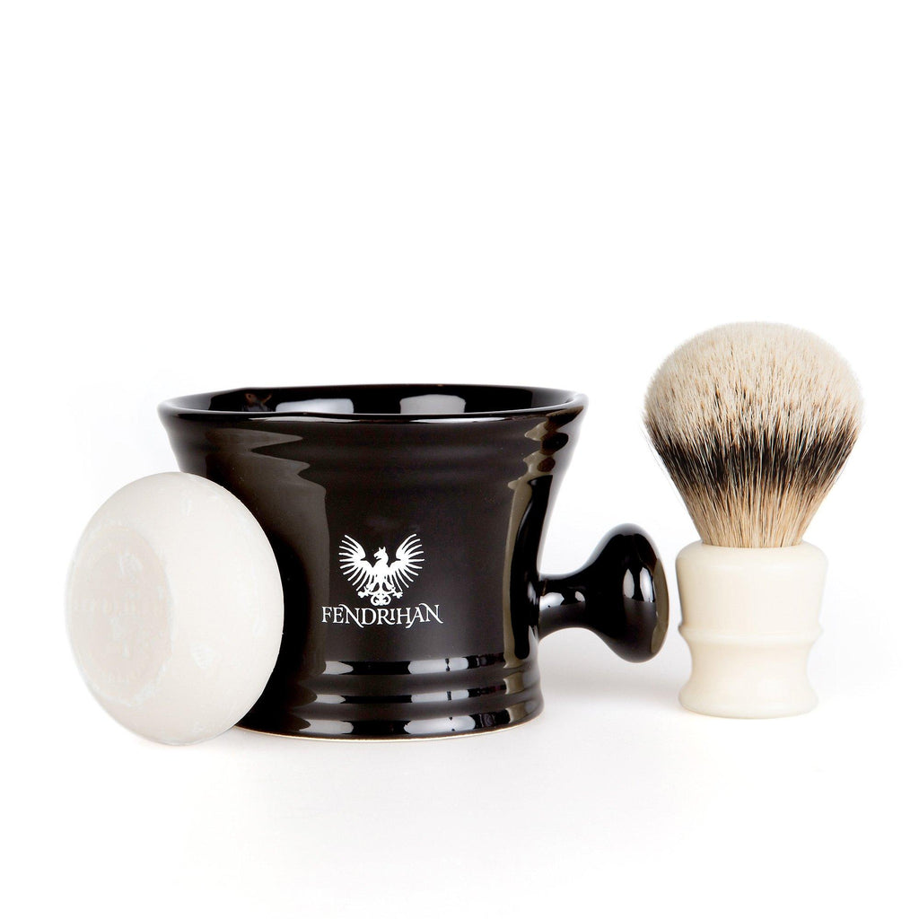 Fendrihan High Mountain White Badger Shaving Brush and Shaving Mug Set, Save $25