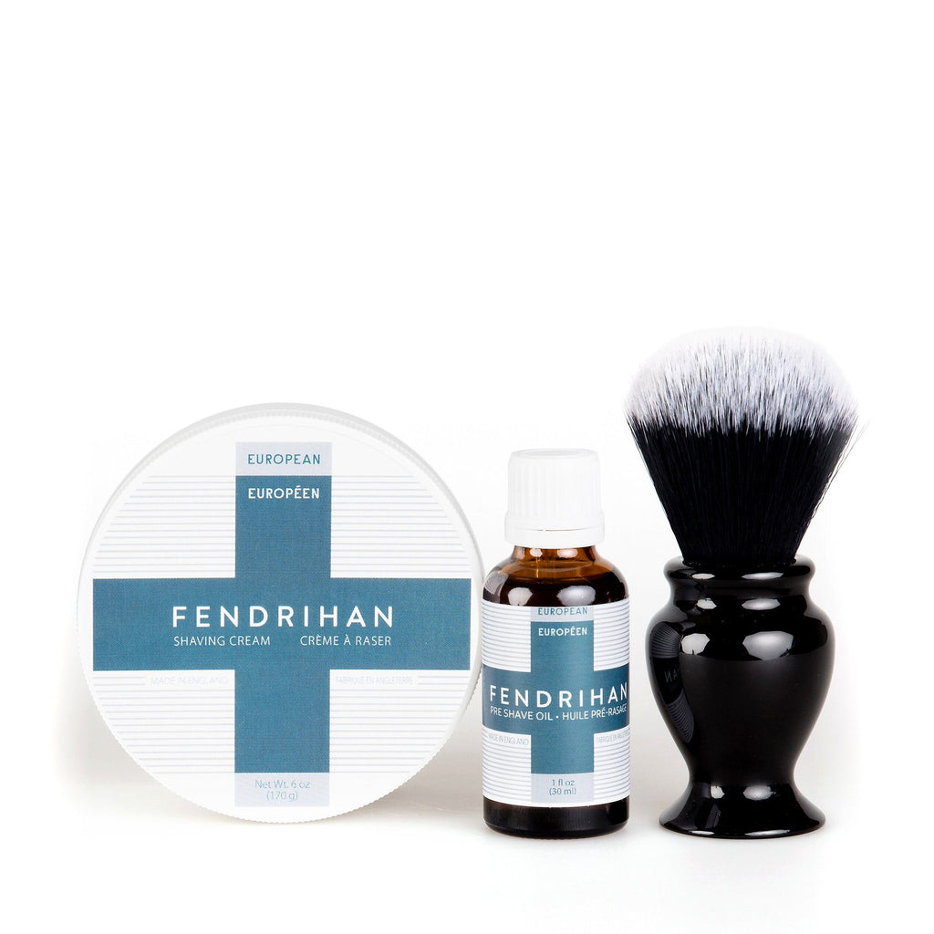Fendrihan Pre-Shave Oil, Shaving Cream and Shaving Brush Set, Save $15 Shaving Kit Fendrihan Synthetic Black and White - Black Handle Euro Euro