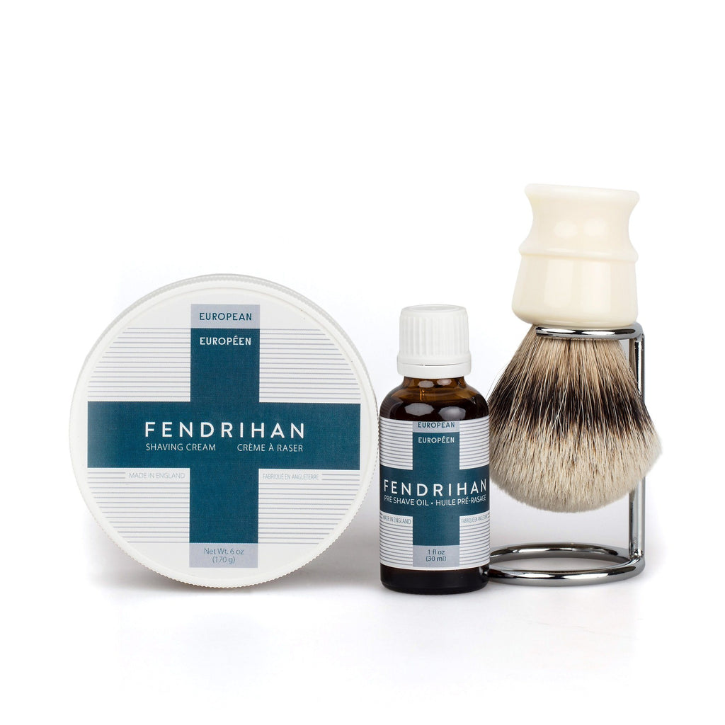Fendrihan Pre-Shave Oil, Shaving Cream and Shaving Brush Set, Save $15 Shaving Kit Fendrihan High Mountain Badger - Ivory Handle Euro Euro