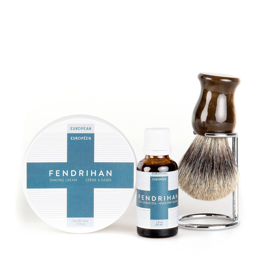 Fendrihan Pre-Shave Oil, Shaving Cream and Shaving Brush Set, Save $15 Shaving Kit Fendrihan Pure Grey Badger - Faux Horn Handle Euro Euro