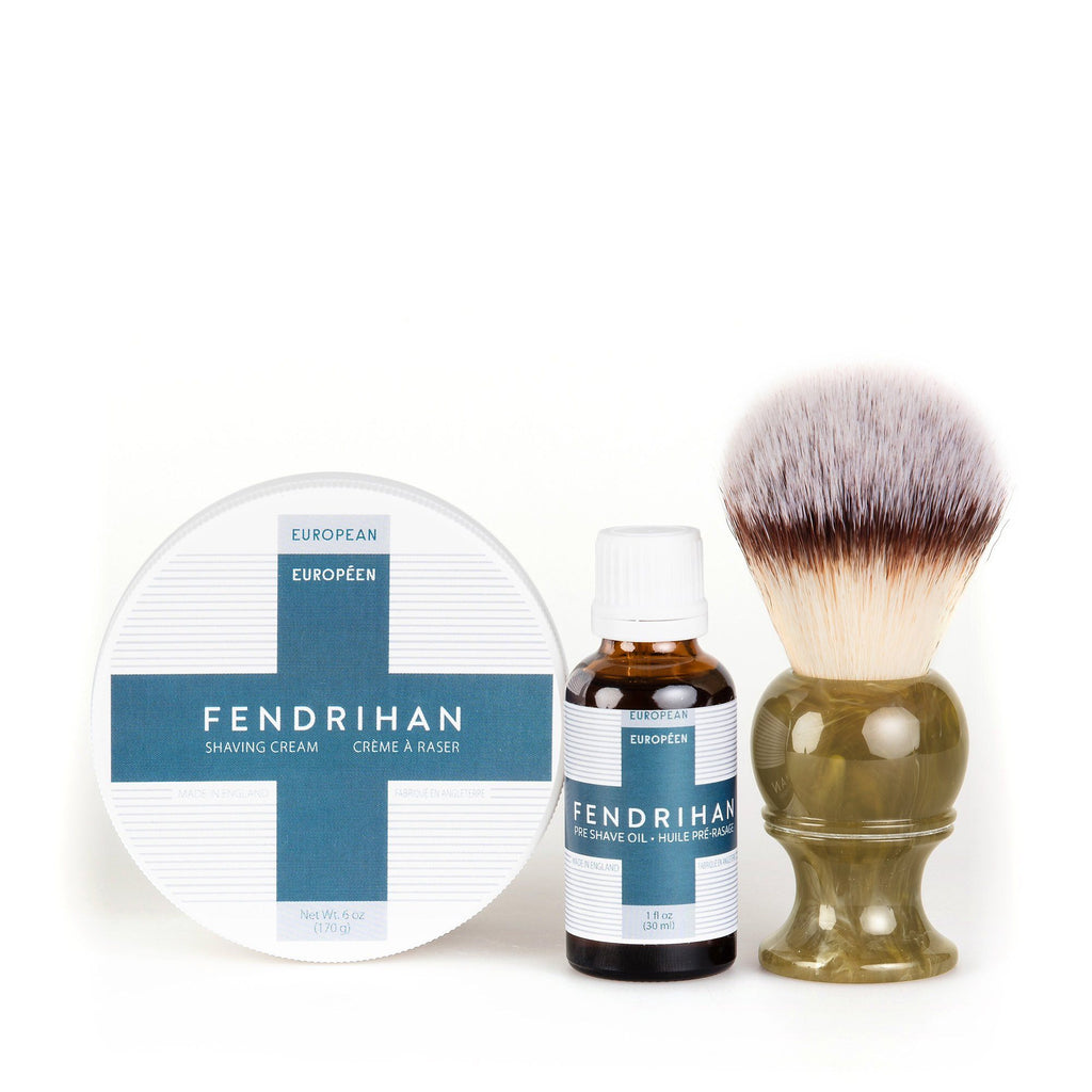 Fendrihan Pre-Shave Oil, Shaving Cream and Shaving Brush Set, Save $15 Shaving Kit Fendrihan Synthetic Silvertip - Faux Horn Resin Handle Euro Euro