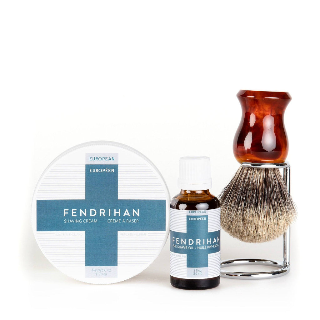 Fendrihan Pre-Shave Oil, Shaving Cream and Shaving Brush Set, Save $15 Shaving Kit Fendrihan Pure Grey Badger - Faux Amber Handle Euro Euro