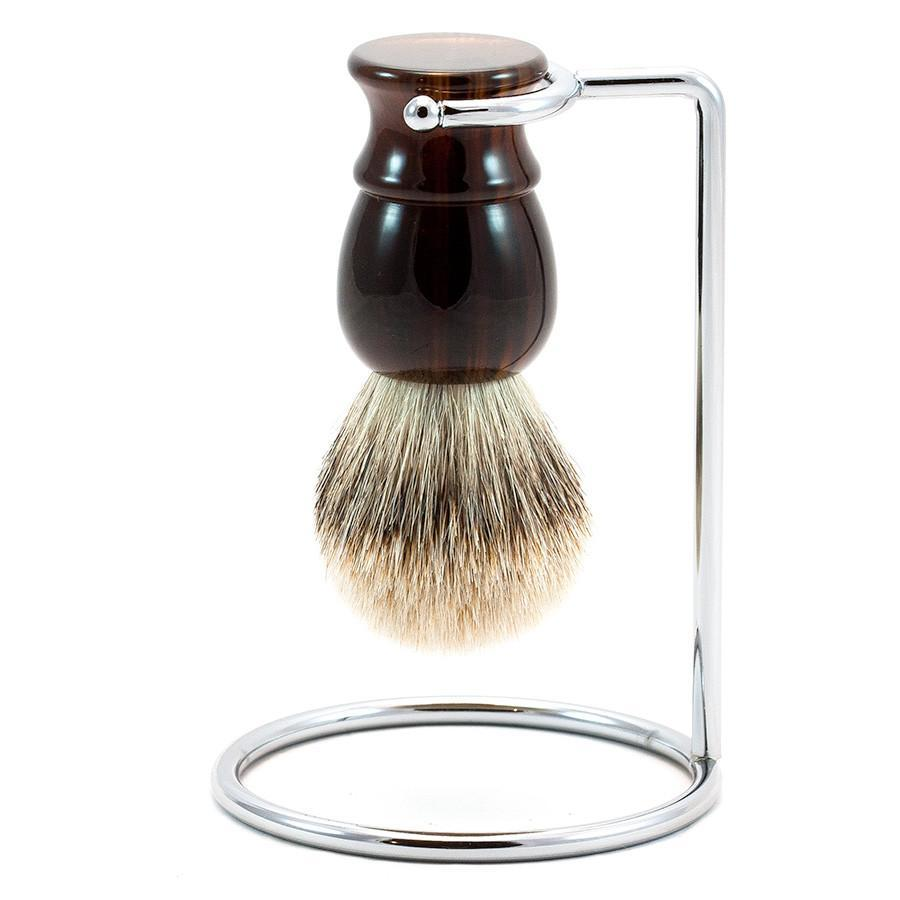 Fendrihan Classic Silvertip Shaving Brush & Metal Stand Badger Bristles Shaving Brush Fendrihan Faux Tortoise