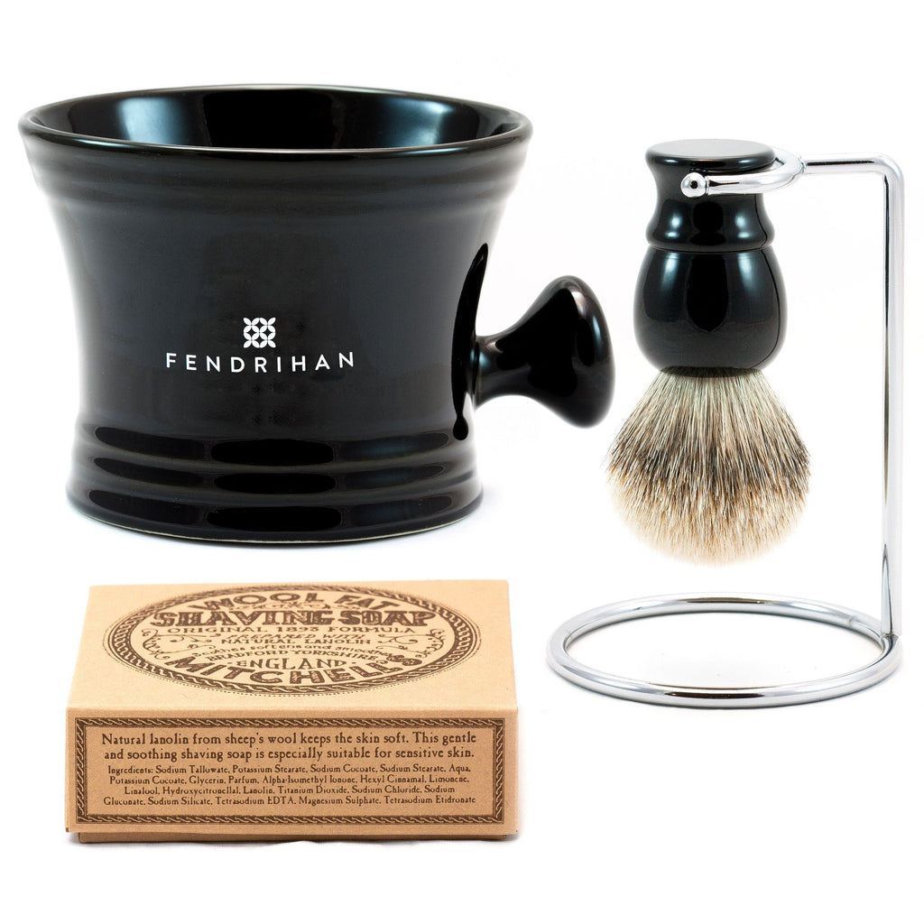 Lather Machine Combo with Mitchell's Wool Fat Shaving Soap, Save $20 Shaving Kit Fendrihan Black