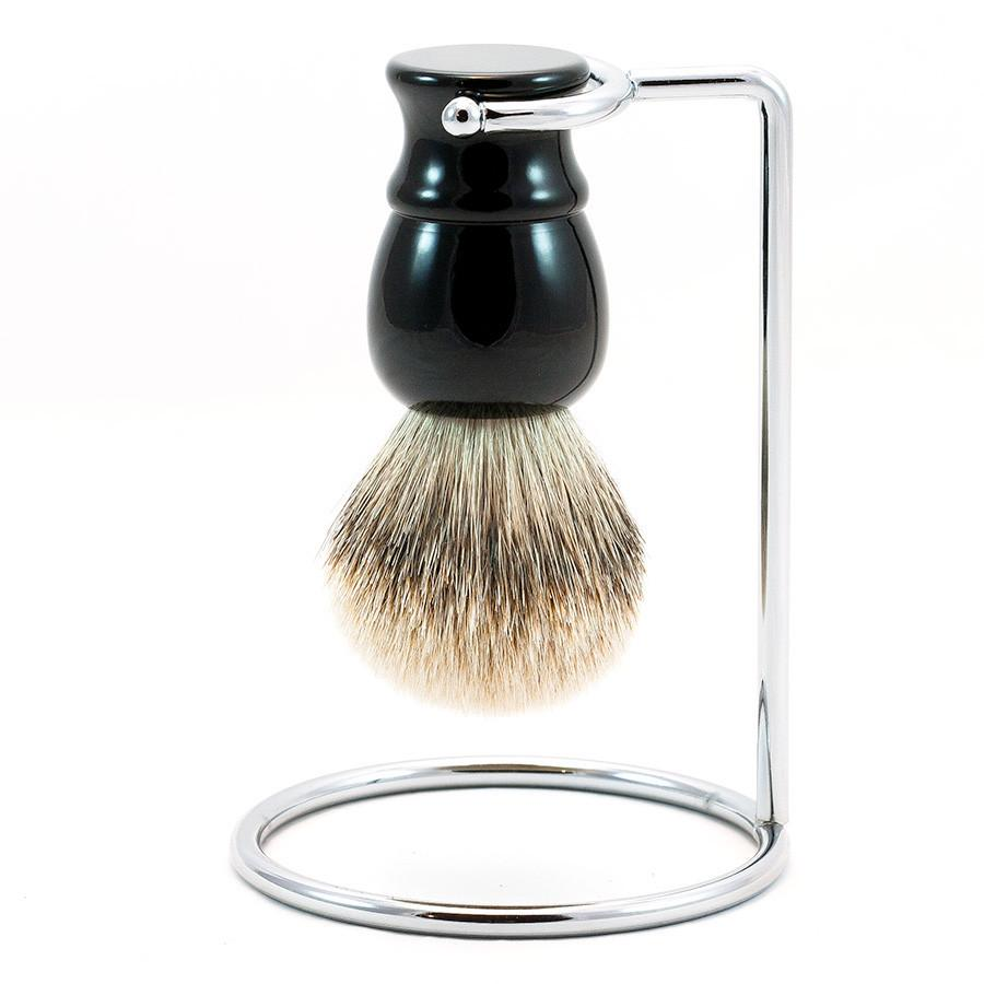 Silvertip Shaving Brush and Metal Stand, Black Handle - Fendrihan
