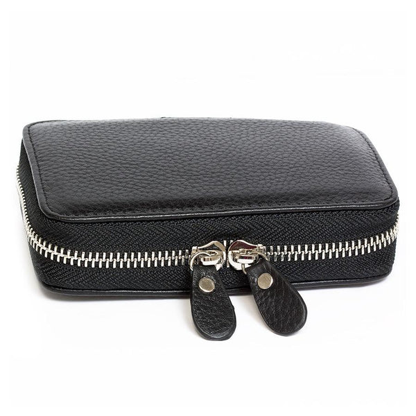 Fendrihan Travel Case for Safety Razor, Pebbled Leather with Nubuck Lining, Black - Fendrihan - 2