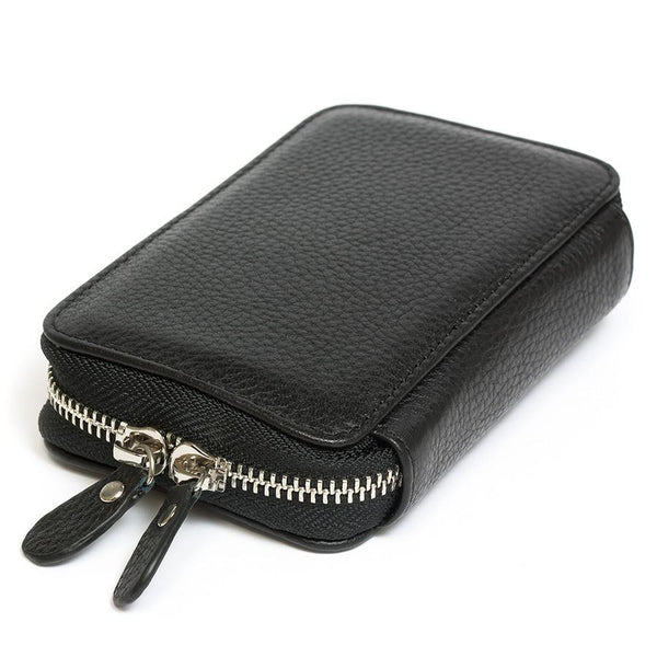 Fendrihan Travel Case for Safety Razor, Pebbled Leather with Nubuck Lining, Black - Fendrihan - 1