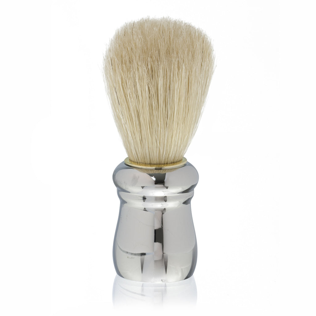 Fendrihan White Boar Bristle Shaving Brush, Silver Handle - Fendrihan