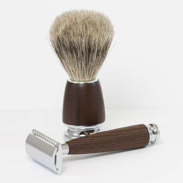Dacian Draco 4-Piece Shaving Set with Safety Razor and Best Badger Brush, Ash Wood Handles - Fendrihan - 3