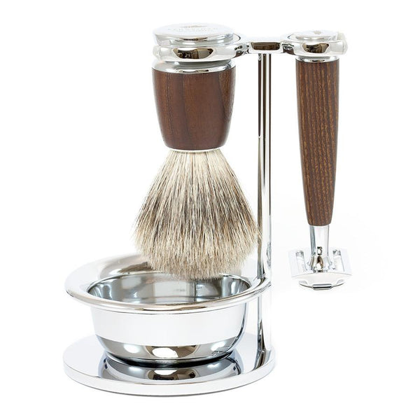 Dacian Draco 4-Piece Shaving Set with Safety Razor and Best Badger Brush, Ash Wood Handles - Fendrihan - 1