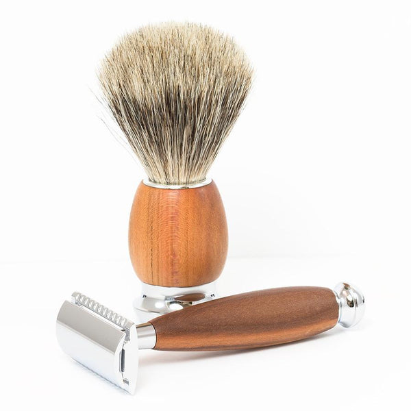 Dacian Draco 4-Piece Shaving Set with Safety Razor and Best Badger Brush, Plum Wood Handles - Fendrihan - 3