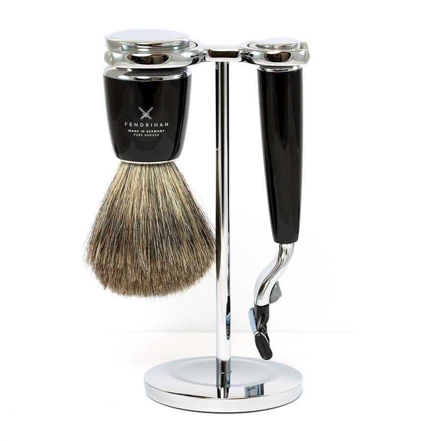 Fendrihan 3-Piece Shaving Set with Gillette Mach3 Razor and Pure Badger Brush, Black Shaving Kit Fendrihan