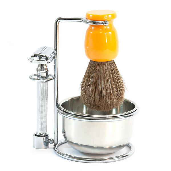 Nickel Plated Safety Razor and Brush Stand with Bowl - Fendrihan - 2