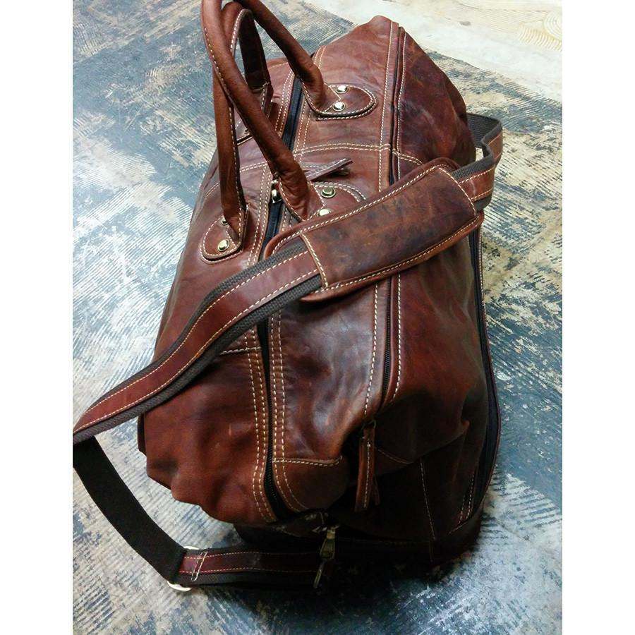 Fendrihan Arizona Aged Leather Travel Bag, Brandy Leather Bag Fendrihan