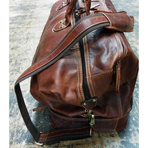 Fendrihan Arizona Aged Leather Travel Bag, Brandy - Fendrihan - 4