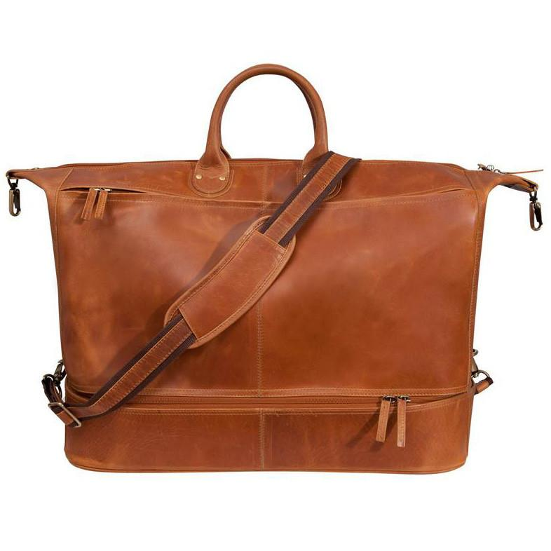 Fendrihan Arizona Buffed Waxed Leather Travel Bag, Cognac Leather Bag Fendrihan