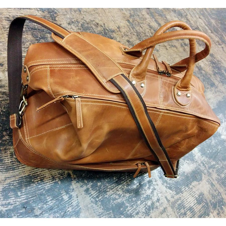 Fendrihan Arizona Buffed Waxed Leather Travel Bag, Cognac - Fendrihan - 3