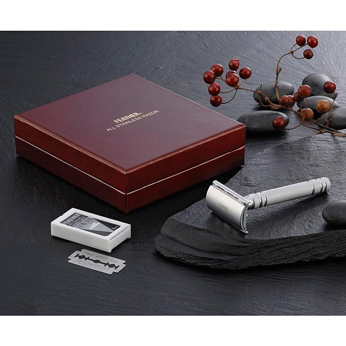 Feather New AS-D2 Stainless Steel Double Edge Razor, Made in Japan - Fendrihan - 2