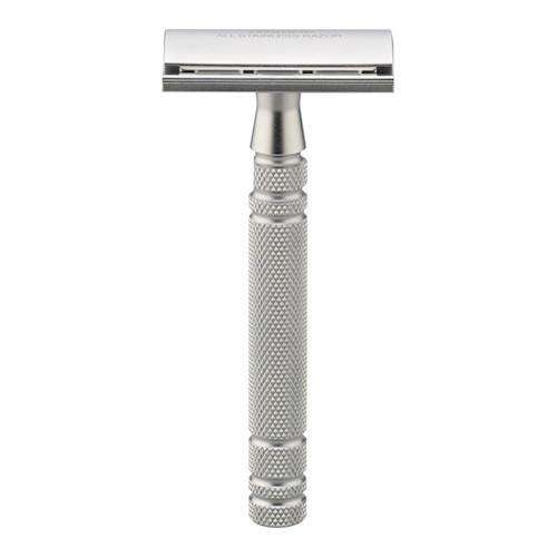 Feather AS-D2S Stainless Steel Double Edge Razor and Stand, Made in Japan Double Edge Safety Razor Feather