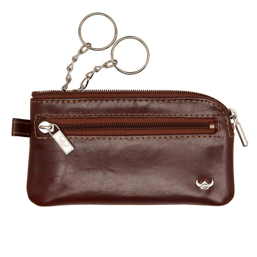 Golden Head Colorado Double-Ring Leather Key Holder with Side Pocket, Tobacco Leather Key Holder Golden Head