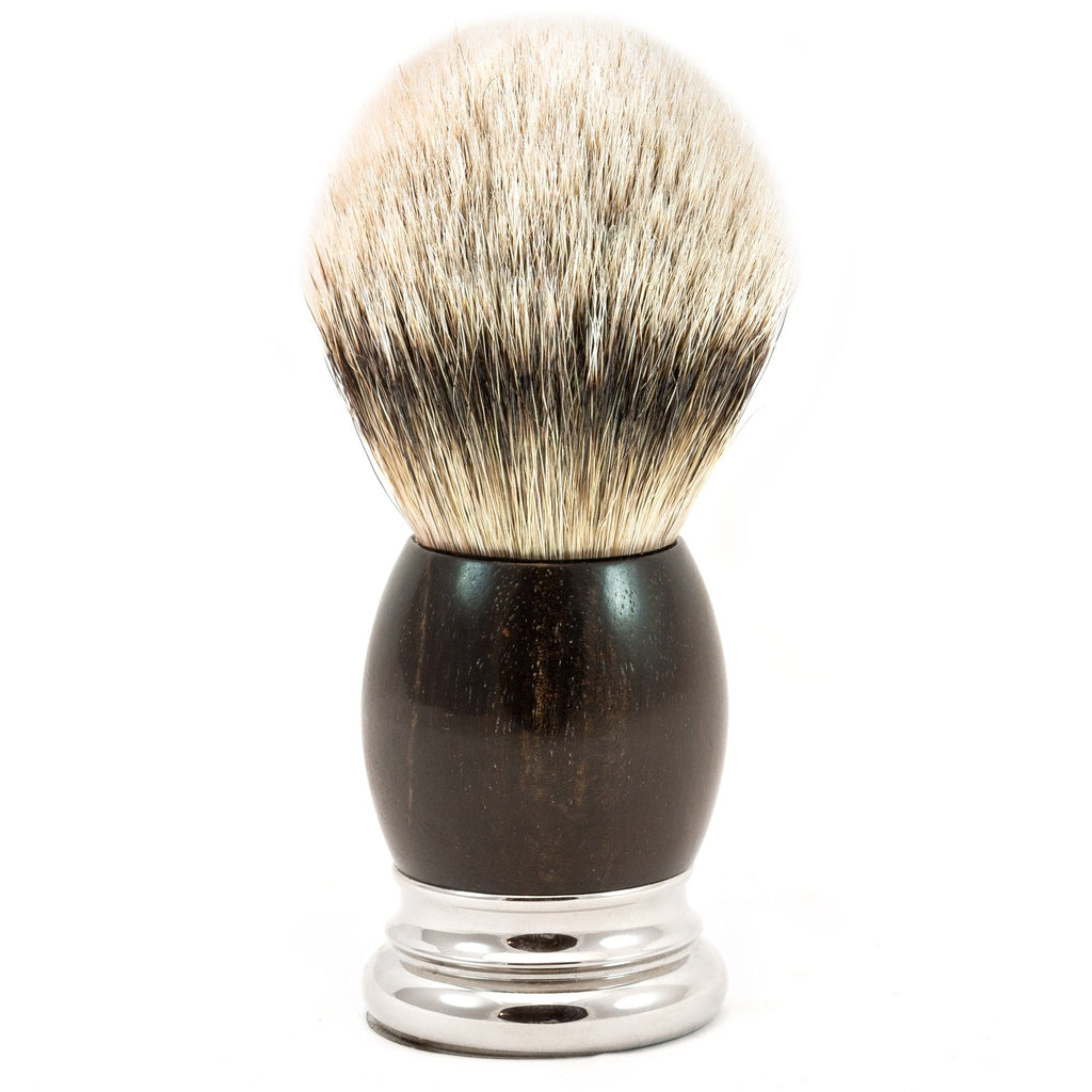 H.L. Thater 4292 Precious Woods Series Silvertip Shaving Brush with Ebony Handle, Size 6 Badger Bristles Shaving Brush Heinrich L. Thater