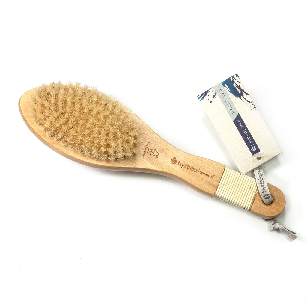 Hydrea London Pure Bristle Bath and Massage Brush, FSC Beechwood with Rubber Grip Bath Brush The Natural Sea Sponge Co