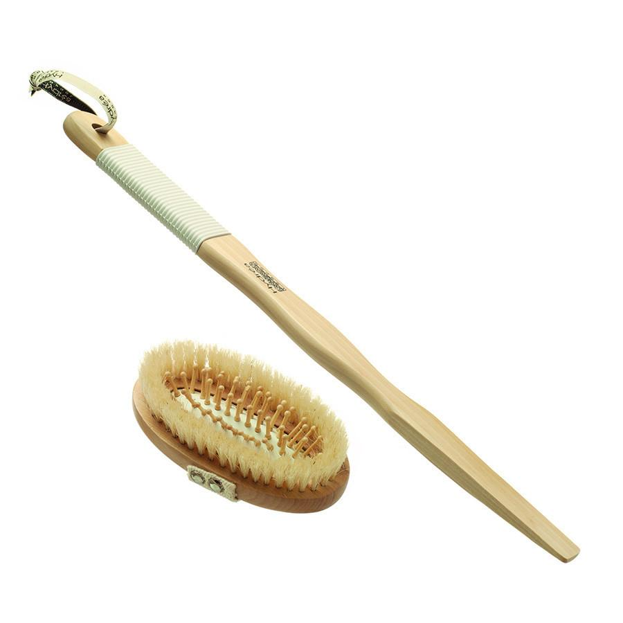 Hydrea London Pure Bristle Bath and Massage Brush, Wood and Rubber Detachable Handle - Fendrihan - 1