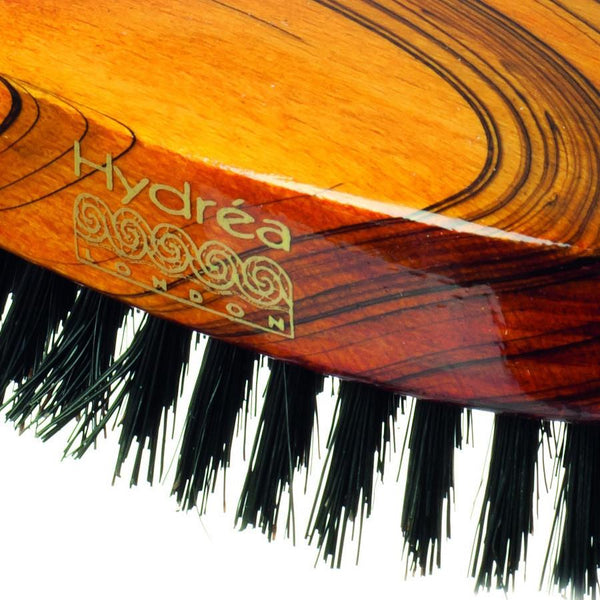 Hydrea London Military Hairbrush, Gloss-Finish Beechwood with Pure Black Boar Bristle - Fendrihan - 2