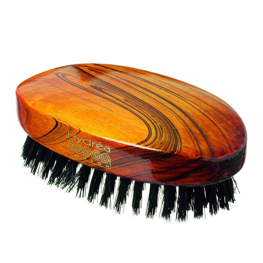 Hydrea London Military Hairbrush, Gloss-Finish Beechwood with Pure Black Boar Bristle Hair Brush The Natural Sea Sponge Co