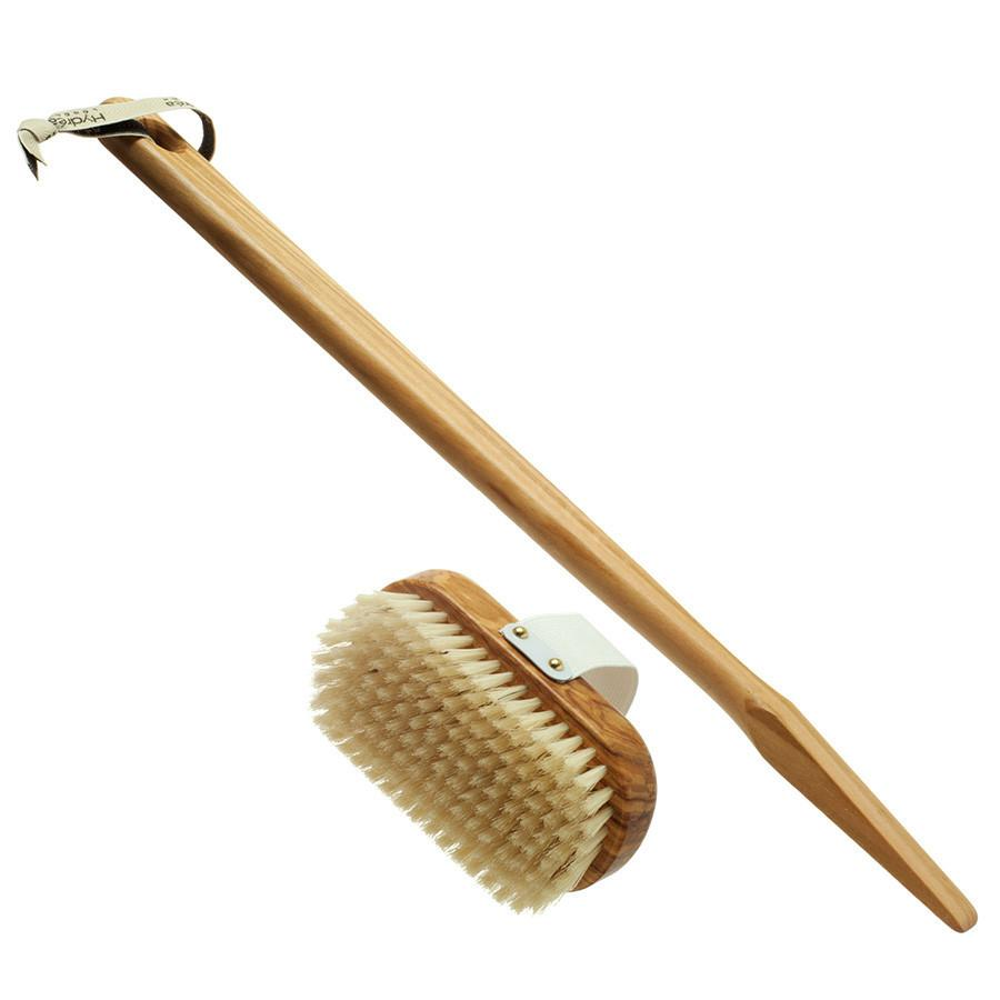 Hydrea London Pure Bristle Bath Brush, Olive Wood Detachable Handle Bath Brush The Natural Sea Sponge Co