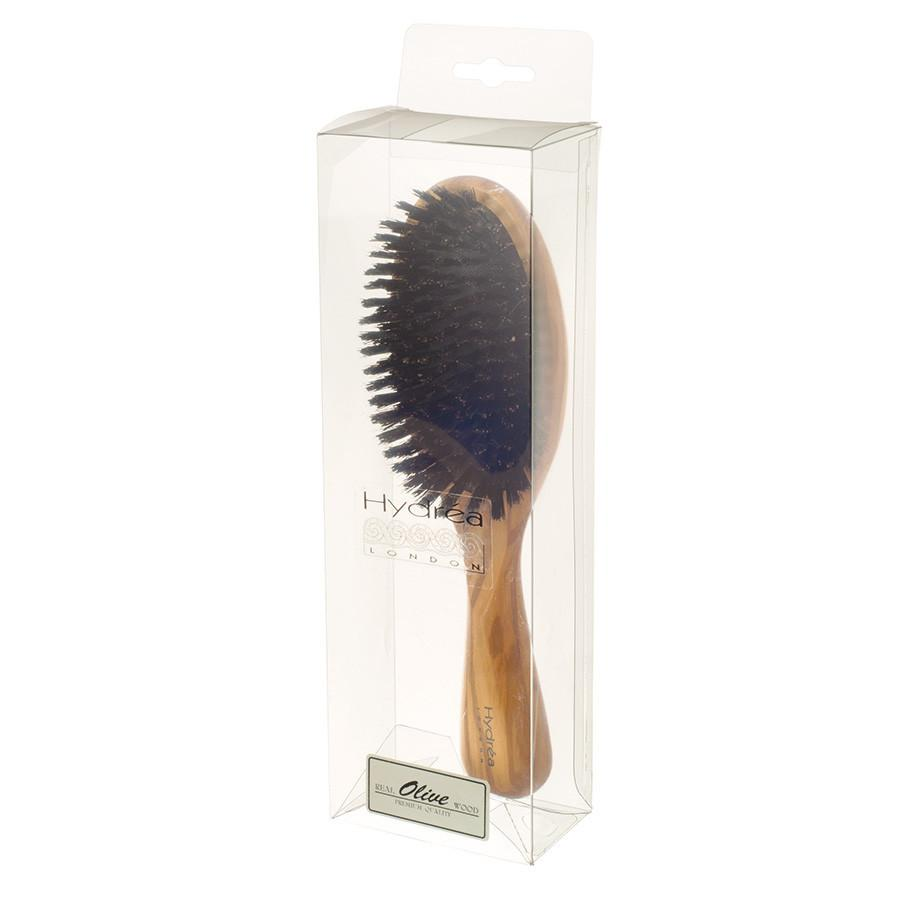 Hydrea London Olive Wood Oval Hair Brush With Pure Wild