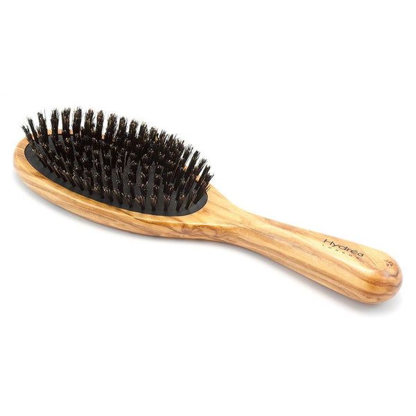 Hydrea London Olive Wood Oval Hair Brush With Pure Wild Boar Bristle and Rubber Cushion - Fendrihan - 1