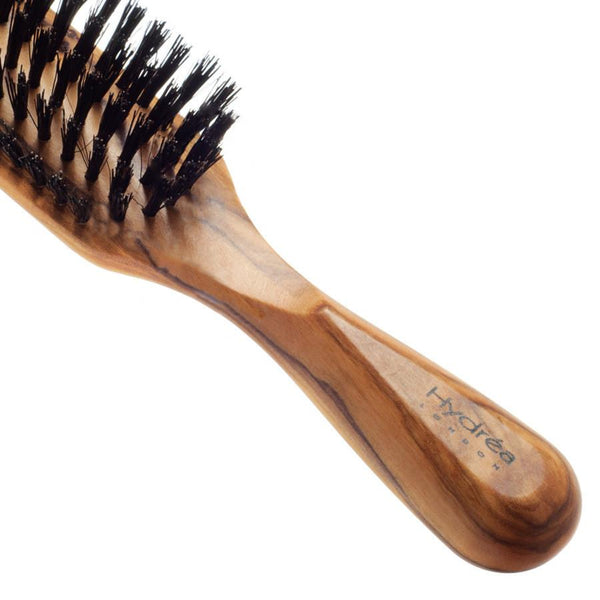 Hydrea London Olive Wood Rectangular Hair Brush With Pure Wild Boar Bristle - Fendrihan - 2