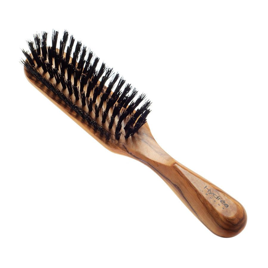 Hydrea London Olive Wood Rectangular Hair Brush With Pure Wild Boar Bristle Hair Brush The Natural Sea Sponge Co