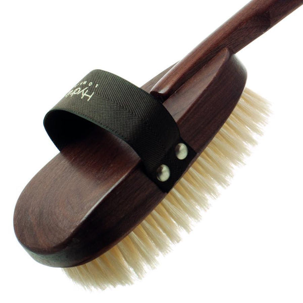 Hydrea London Natural Bristle Bath Brush, Walnut Wood Detachable Handle - Fendrihan - 4