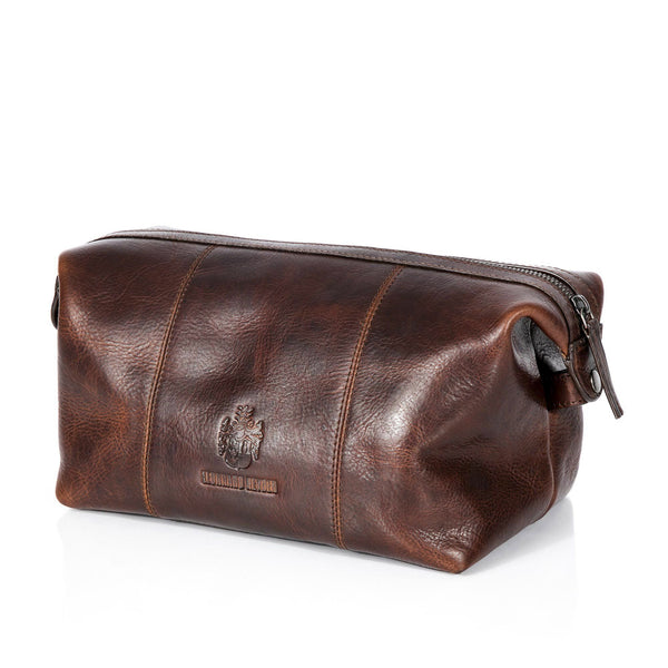Leonhard Heyden Roma Toiletry Kit, Brown Leather - Fendrihan - 1