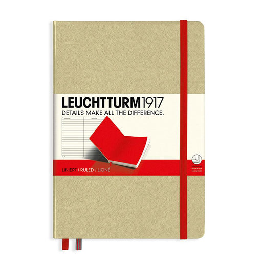 Leuchtturm1917 Medium Hard Cover Notebook, Sand-Red, Ruled