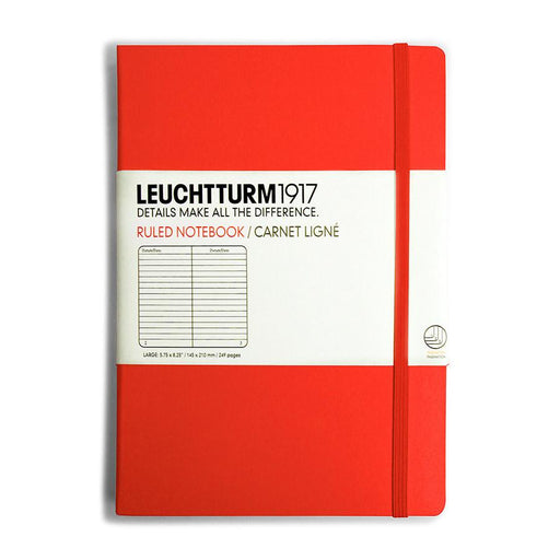 Leuchtturm1917 Medium Hard Cover Notebook, Red, Ruled - Fendrihan