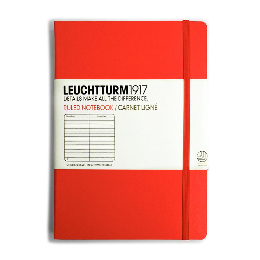 Leuchtturm1917 Medium Hard Cover Notebook, Red, Ruled Notebook Leuchtturm1917