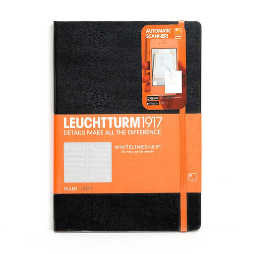 Leuchtturm1917 Whitelines Link Medium Hard Cover Notebook, Black, Ruled - Fendrihan - 1