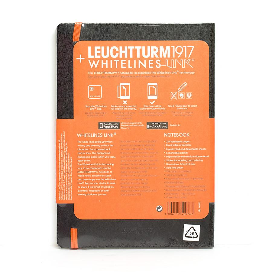 Leuchtturm1917 Whitelines Link Medium Hard Cover Notebook, Black, Dots Notebook Leuchtturm1917