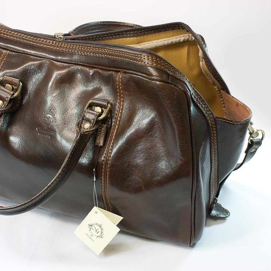 Manufactus Massimo Leather Overnight Bag, Dark Brown Leather Bag Manufactus by Luca Natalizia