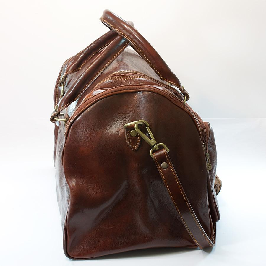 Manufactus Nerone Medium-Size Leather Duffle Bag, Tobacco Leather Bag Manufactus by Luca Natalizia