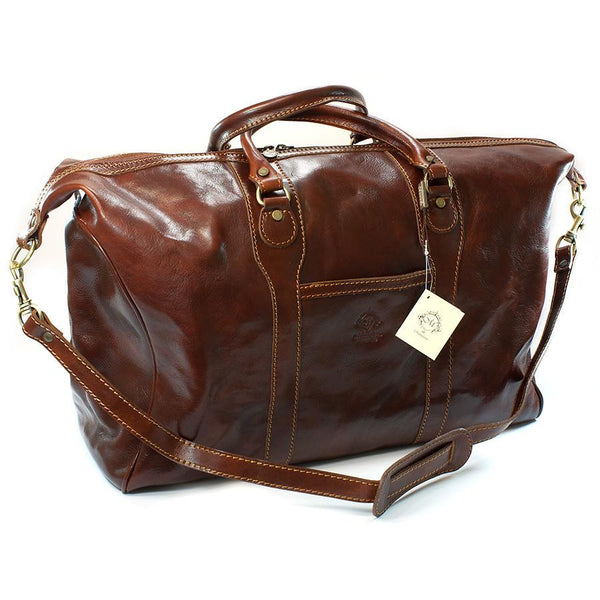 Manufactus Impero Large-Size Leather Travel Bag, Tobacco - Fendrihan - 1