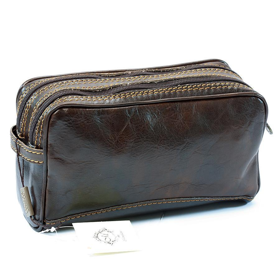 Manufactus Romolo Leather Toiletry Case Grooming Travel Case Manufactus by Luca Natalizia Dark Brown