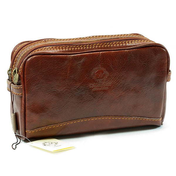 Manufactus Romolo Leather Toiletry Case, Tobacco - Fendrihan - 1